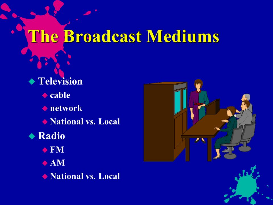 radio and television mediums of advertising Radio and television advertising services our team of media buyers, copywriters, voice over talents, producers, and actors have worked on all sides of the media industry this team brings decades of experience to your marketing initiatives.
