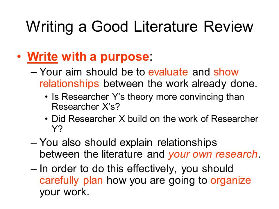 Writing good literature review