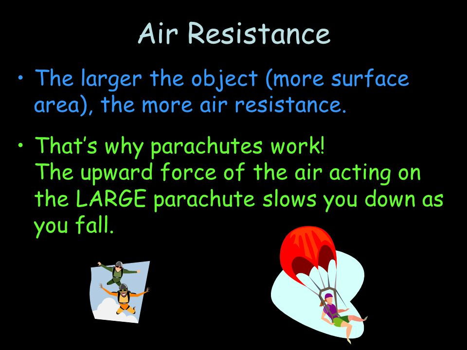 parachute area and air resistance Parachutes, gravity and air resistance in 1785 jean pierre blanchard made the first emergency use of a parachute after the hot air balloon he was in exploded.