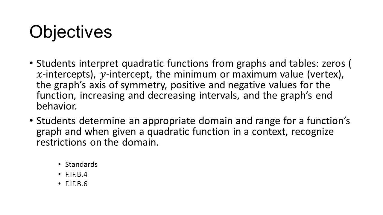 Interpreting quadratic functions from graphs and tables ppt video 2 objectives falaconquin