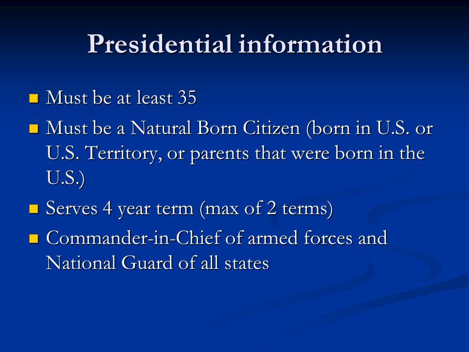 Presidential information