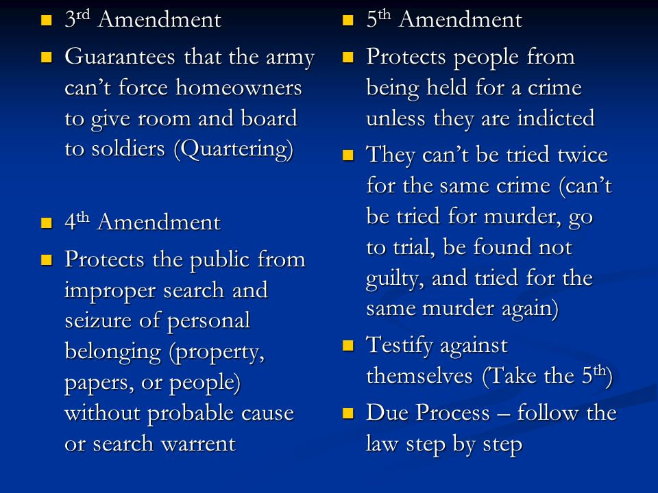 3rd Amendment Guarantees that the army can't force homeowners to give room and board to soldiers (Quartering)