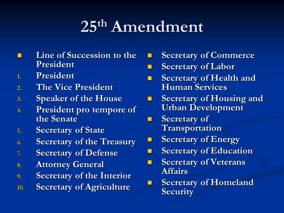 25th Amendment Line of Succession to the President President