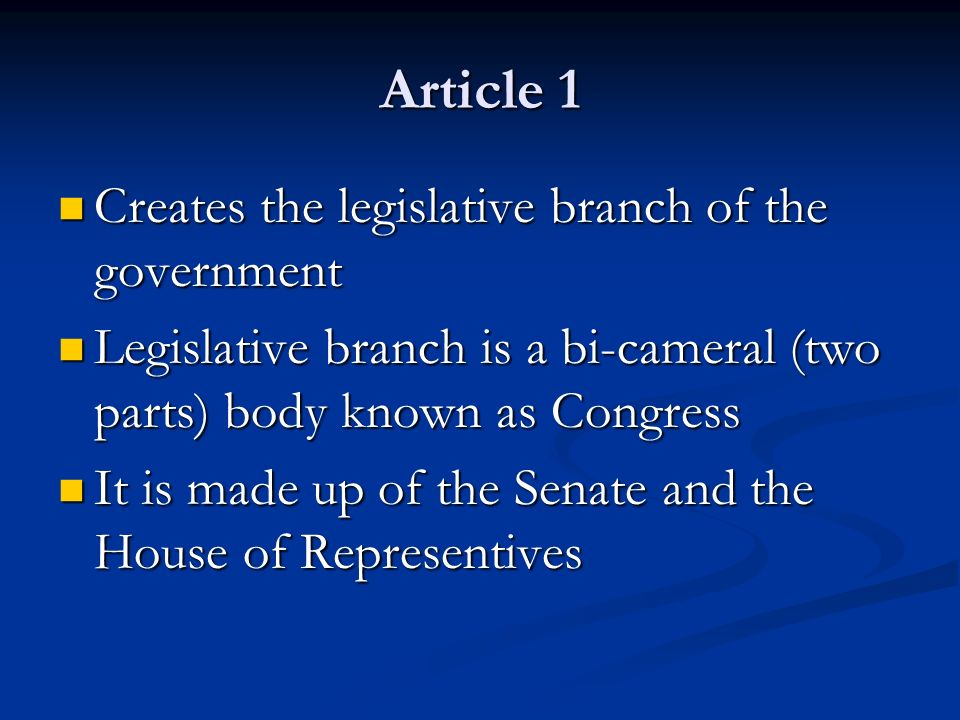article iv the legislative department Lesson 4: articles ii-vii of the us constitution  articles iv (4) -the states   judicial review is a strong check against the executive or legislative branch  having.