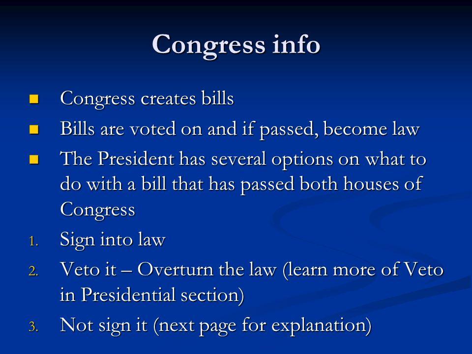 Congress info Congress creates bills