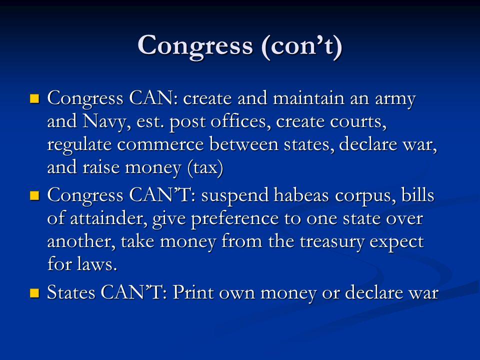 Congress (con't)