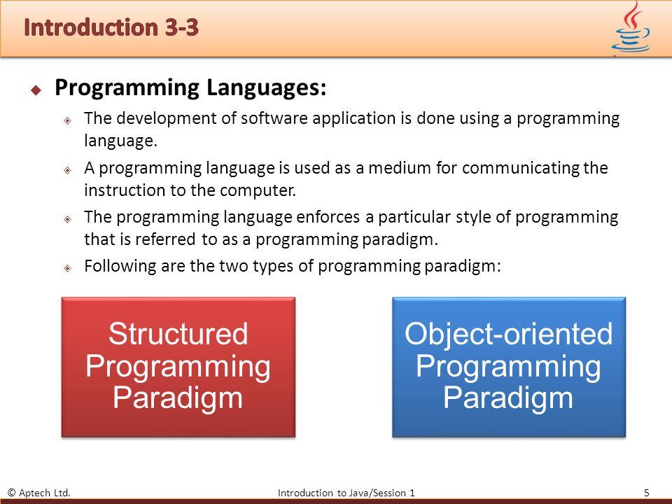 object oriented programming paradigm I guess you are asking for the advantage of oop over structured programming ( with functions calling other functions with arguments in a top-down manner) oop is the main programming paradigm these days in most languages if you want to understand the design and use oo libraries correctly in your work, you have to.
