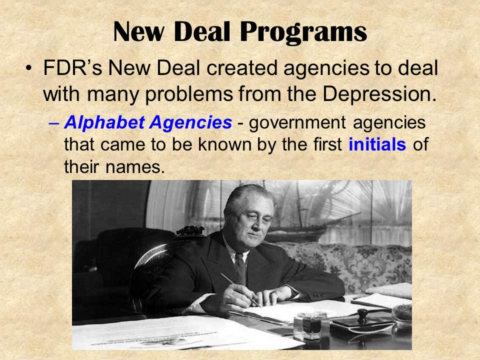 an overview of the roosevelts new deal during the great depression The new deal was a sweeping package of public works projects, federal regulations, and financial system reforms enacted by the us federal government in an effort to help the nation survive and recover from the great depression of the 1930s the new deal programs created jobs and provided financial.