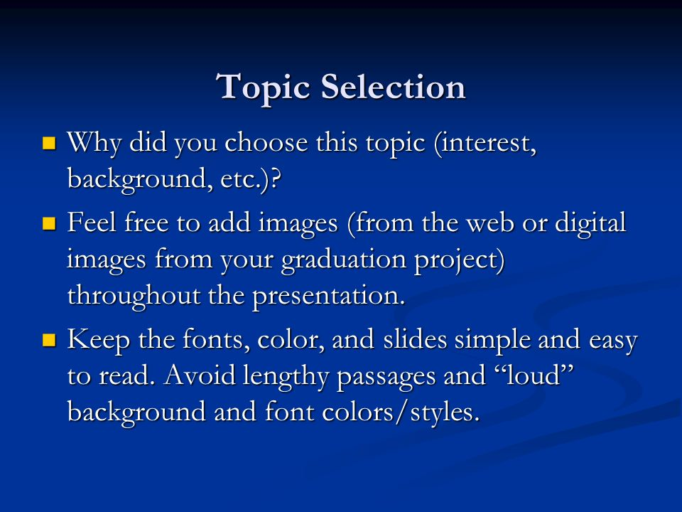 title of graduation project topic senior boards presentation  3 topic selection