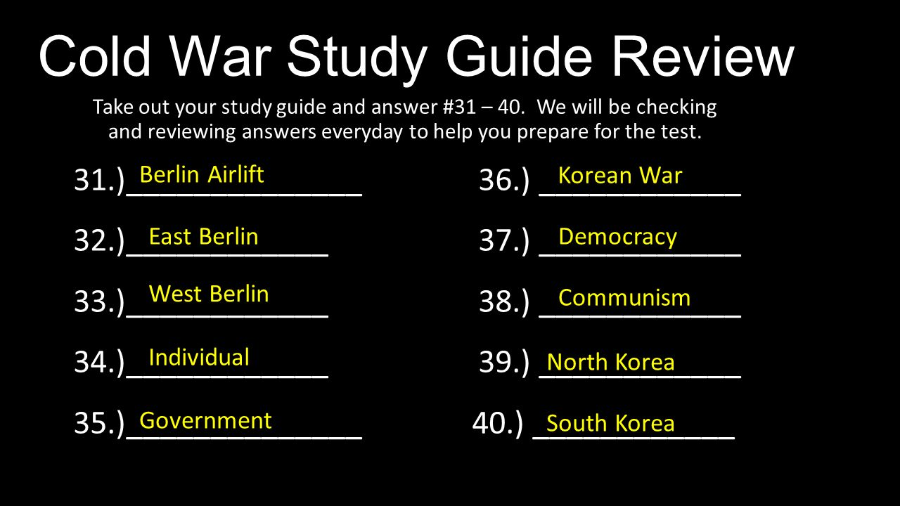 Chapter 25 and 26: The Cold War Study Guide - PC\|MAC