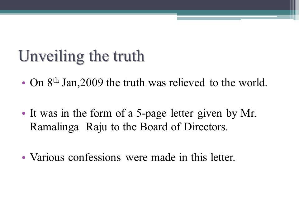 SINKING SHIP OR TIP OF ICEBERG ppt download – Ramalinga Raju Resignation Letter