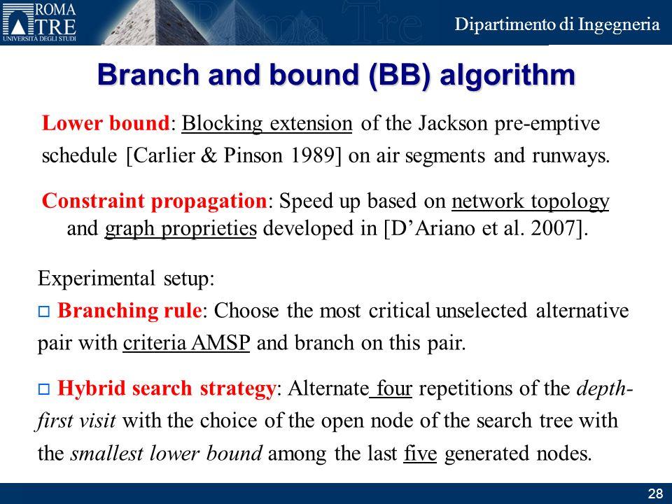 Branch and bound (BB) algorithm
