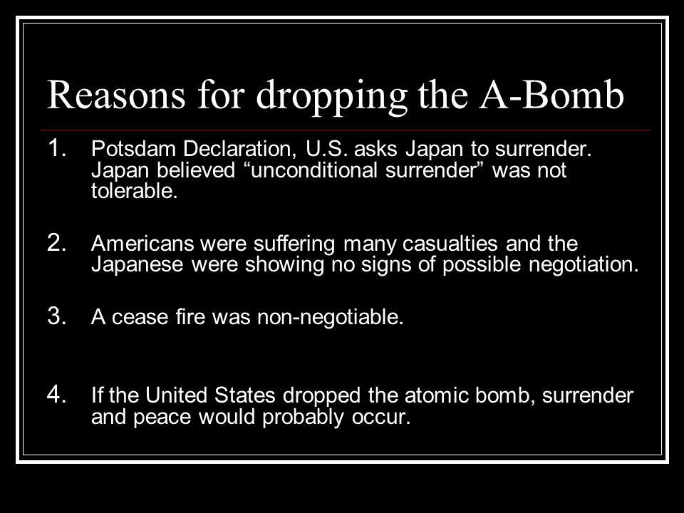"reasons for dropping the atomic bomb essay Dropping the atomic bomb on japan bombs on japan essay - the dropping of the atomic bombs on japan the end of most cruel bomb"" as one of the reasons."