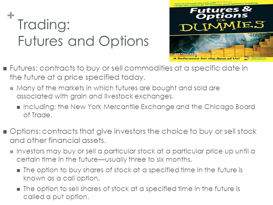 Futures and options markets trading in commodities and financials