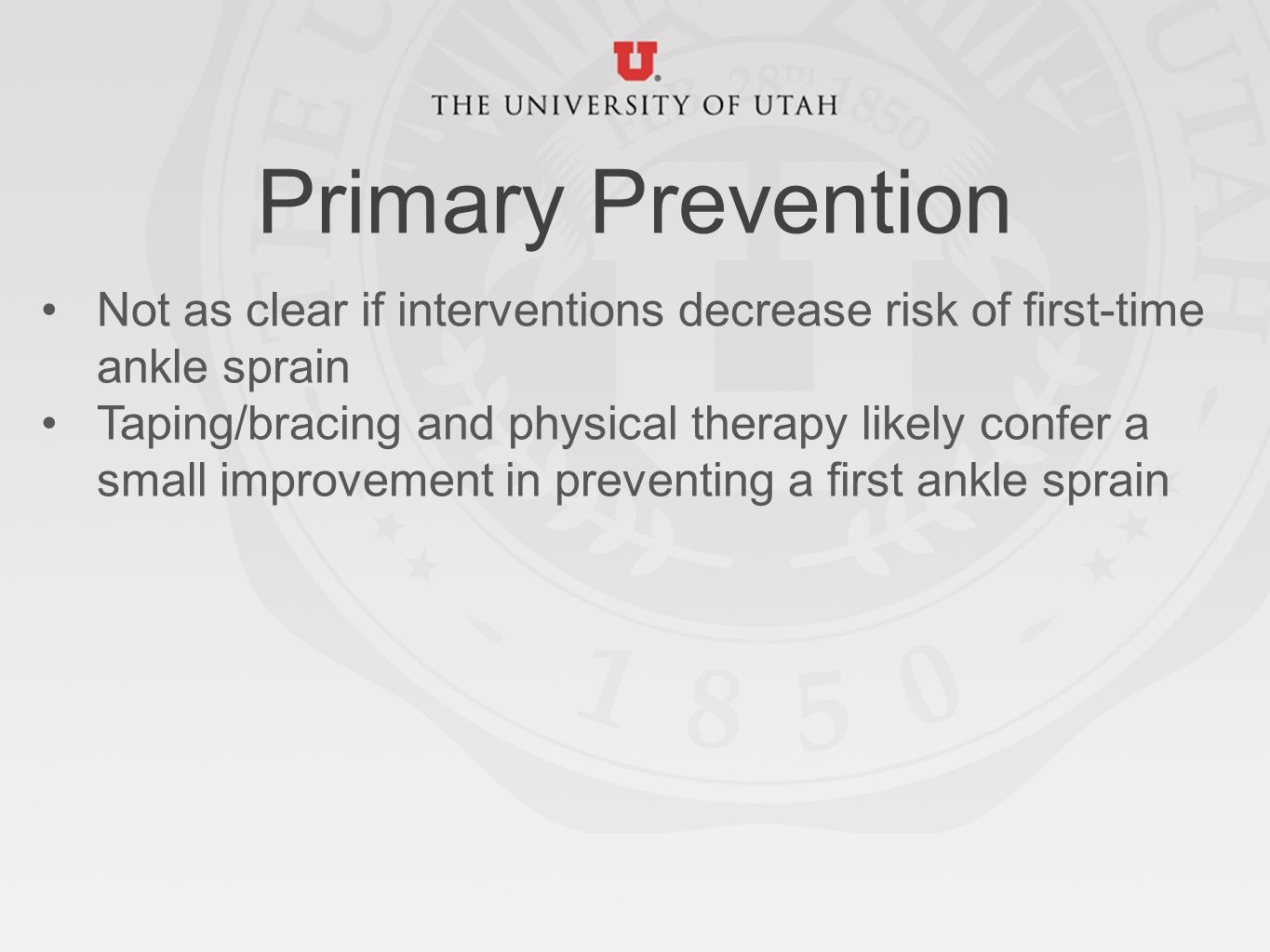 Ankle sprain physical therapy - Primary Prevention Not As Clear If Interventions Decrease Risk Of First Time Ankle Sprain