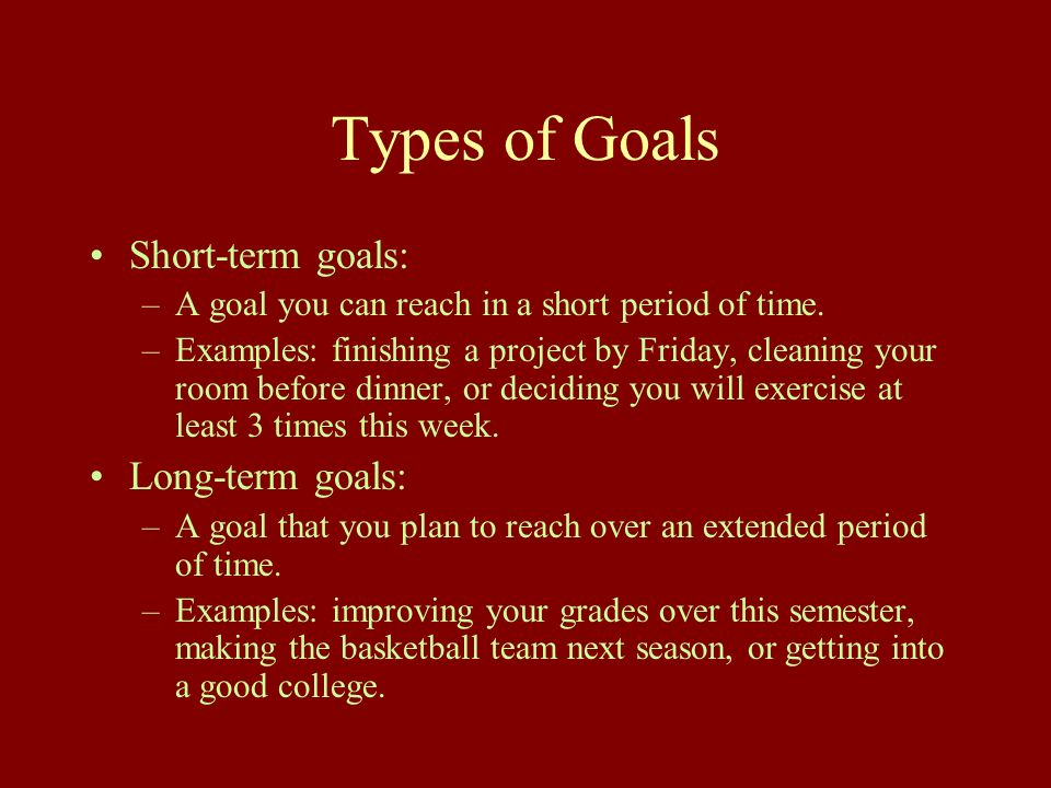 setting long and short term goals essay The author of the essay long-term and short-term goals touches upon his/her goals in terms of education admittedly, when a person possesses aset.