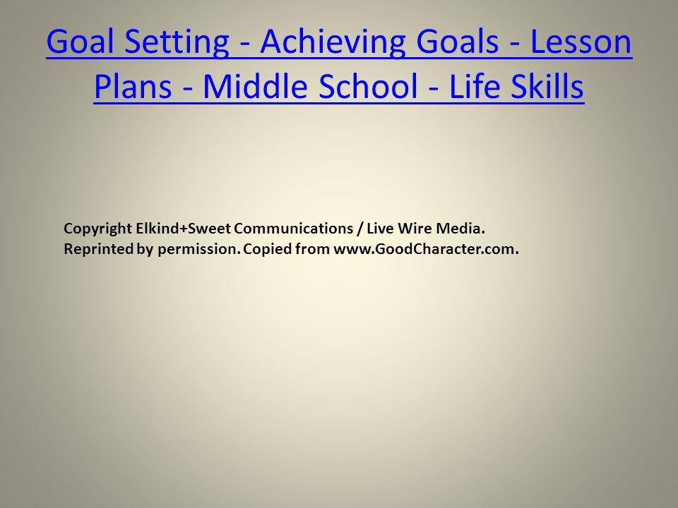 goals lesson plans middle school proga info