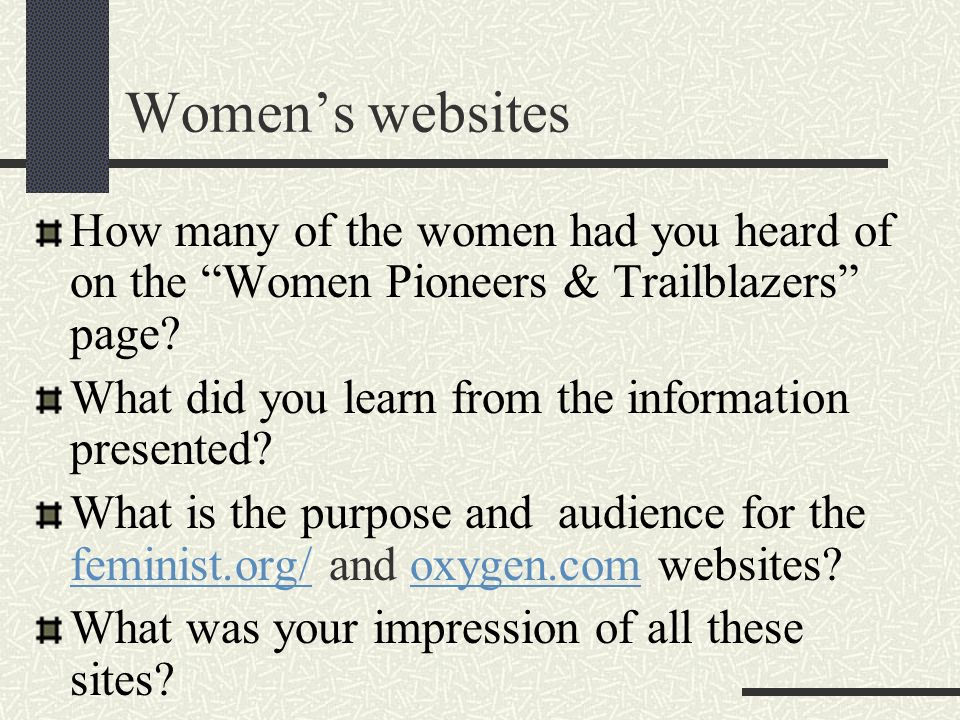 Women's websites How many of the women had you heard of on the Women Pioneers & Trailblazers page
