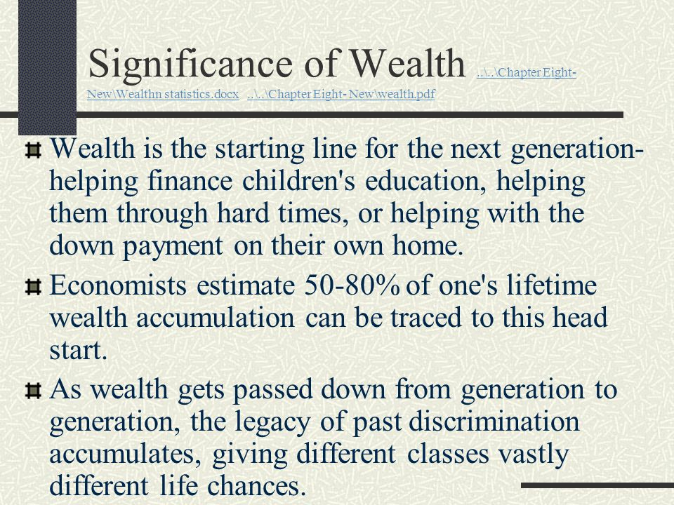 Significance of Wealth ..\..\Chapter Eight- New\Wealthn statistics.docx ..\..\Chapter Eight- New\wealth.pdf