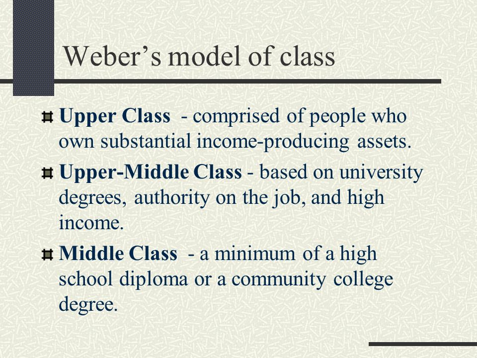 Weber's model of class Upper Class - comprised of people who own substantial income-producing assets.