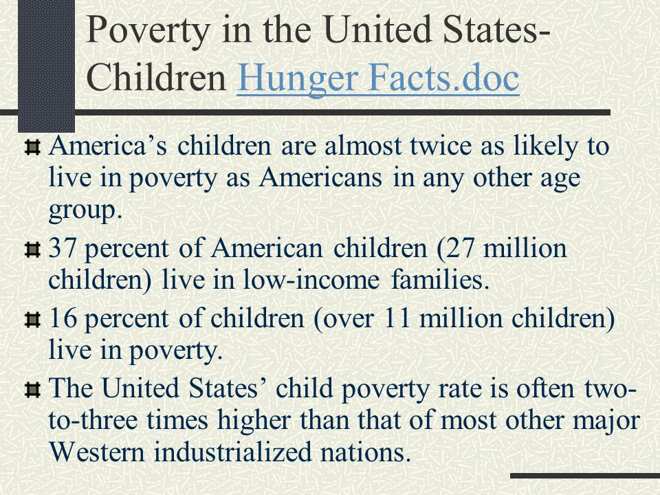Poverty in the United States- Children Hunger Facts.doc