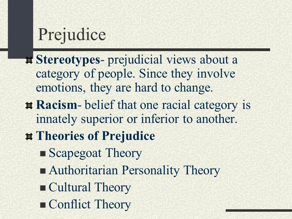 Prejudice Stereotypes- prejudicial views about a category of people. Since they involve emotions, they are hard to change.