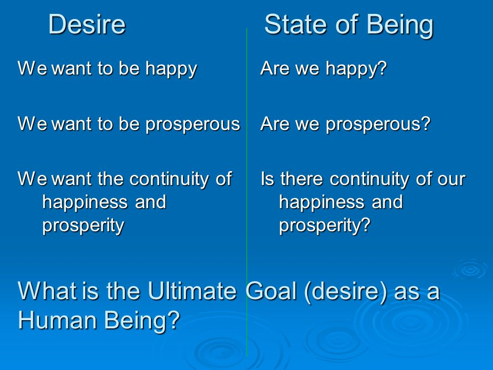 Desire State of Being We want to be happy We want to be prosperous We want the continuity of happiness and prosperity