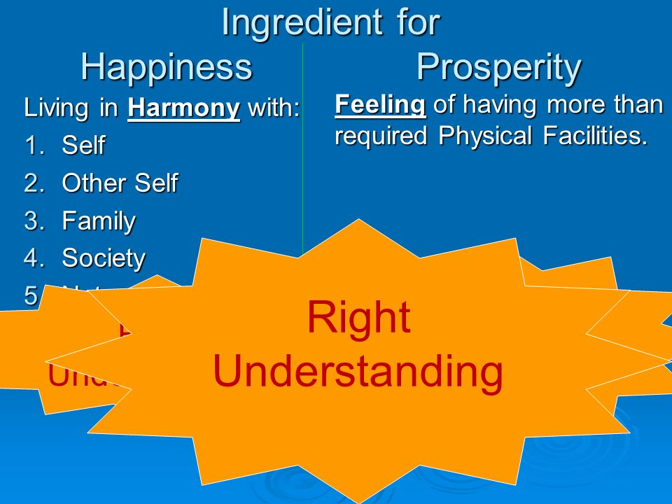Ingredient for Happiness Prosperity