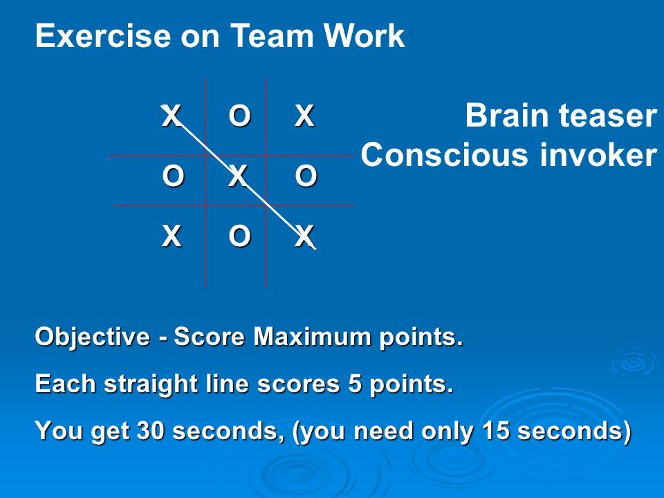 Exercise on Team Work Brain teaser Conscious invoker X O X O X O