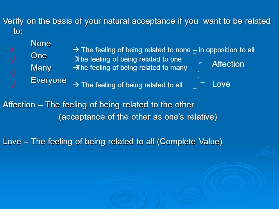 Verify on the basis of your natural acceptance if you want to be related to: