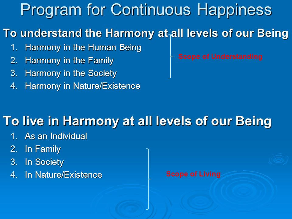 Program for Continuous Happiness
