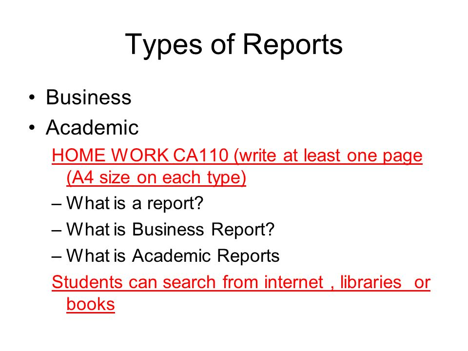 REPORTS ppt download – Type of Business Report