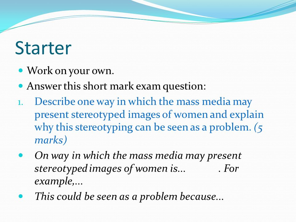 essay on media representations of gender ppt video online  essay on media representations of gender 2 starter