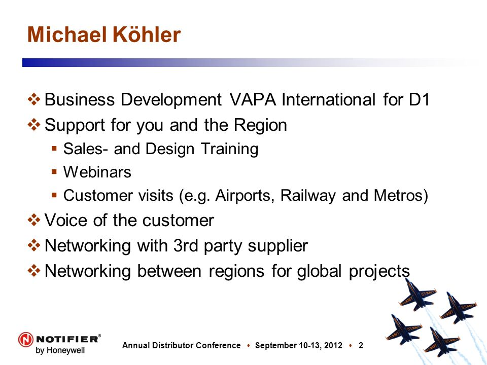 NOTIFIER Annual Distributor Conference Michael Köhler - ppt video ...