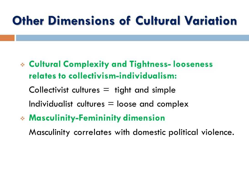 Other Dimensions of Cultural Variation