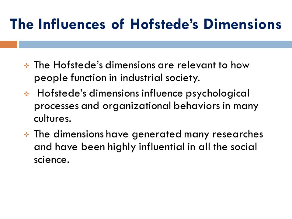 The Influences of Hofstede's Dimensions