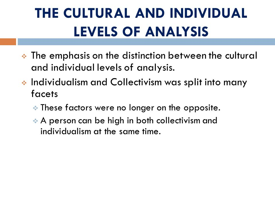THE CULTURAL AND INDIVIDUAL LEVELS OF ANALYSIS