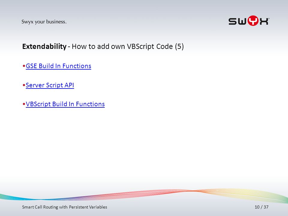 Extendability - How to add own VBScript Code (5)