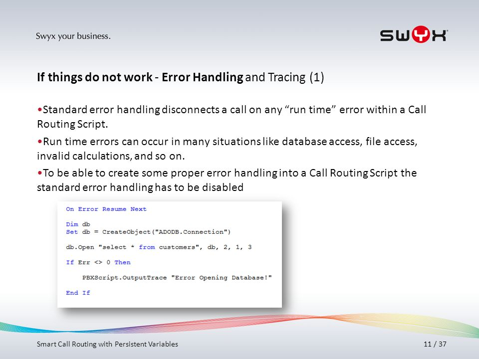 If things do not work - Error Handling and Tracing (1)