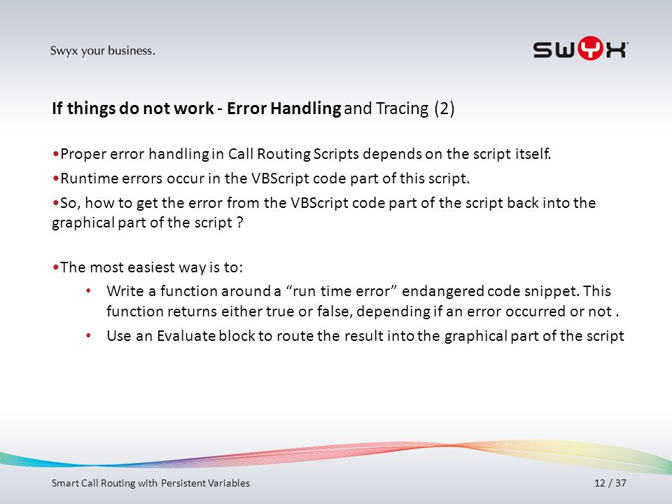 If things do not work - Error Handling and Tracing (2)
