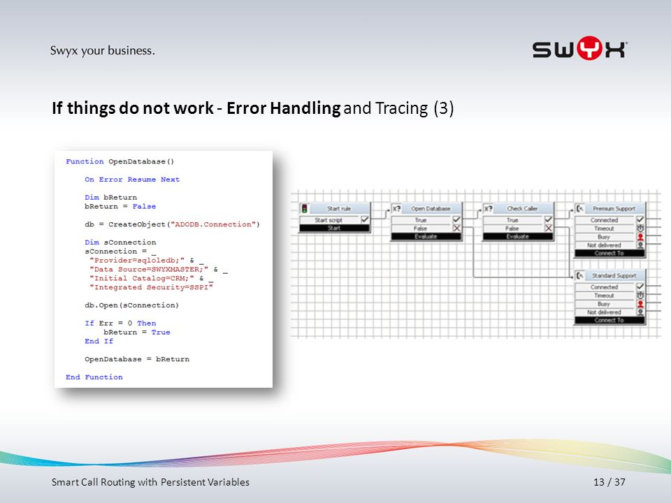 If things do not work - Error Handling and Tracing (3)