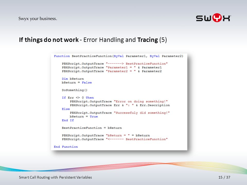 If things do not work - Error Handling and Tracing (5)