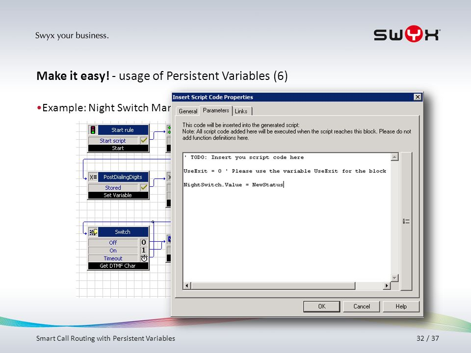 Make it easy! - usage of Persistent Variables (6)