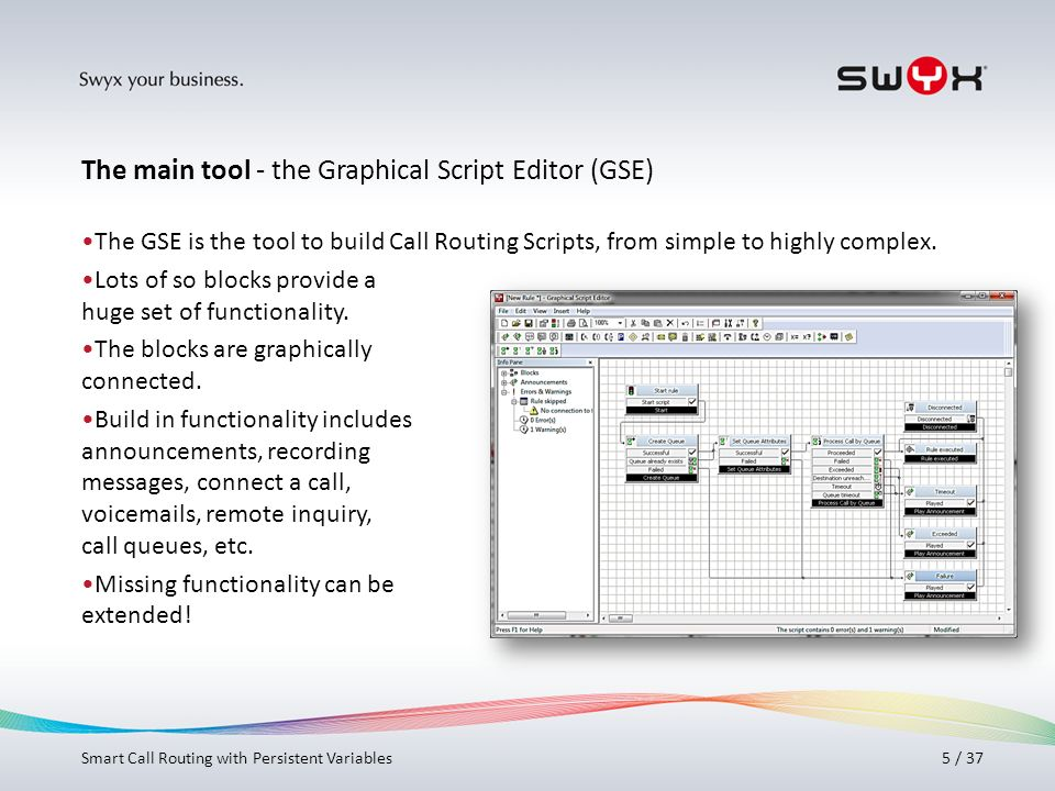 The main tool - the Graphical Script Editor (GSE)