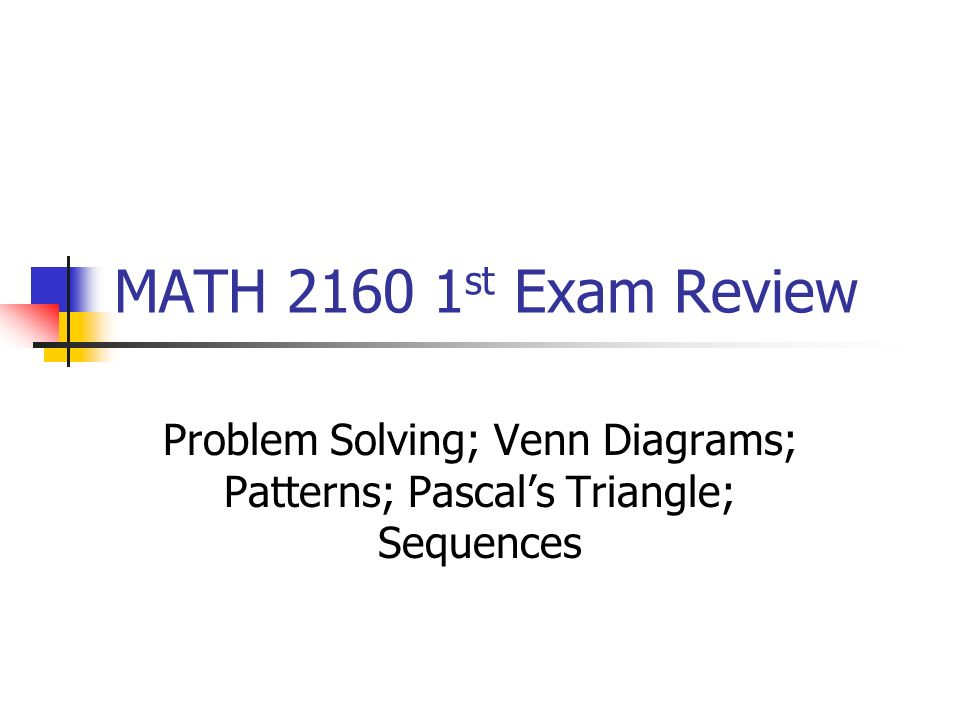 Problem Solving Venn Diagrams Patterns Pascals Triangle