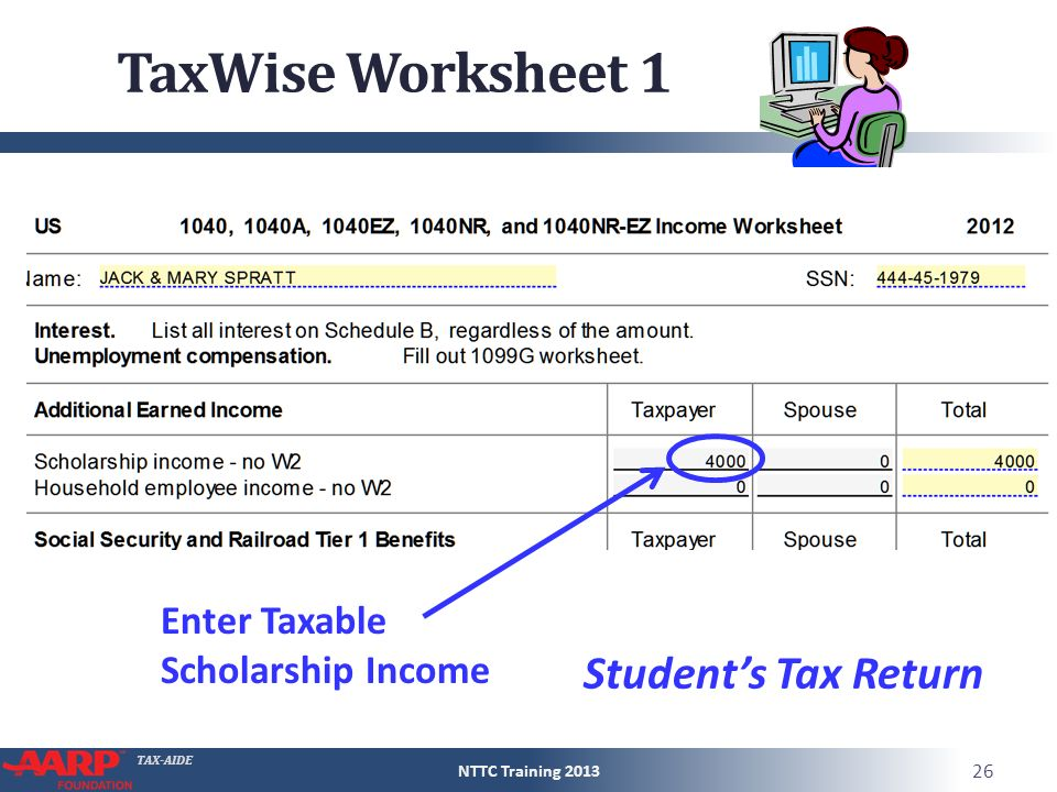 Earned income worksheet