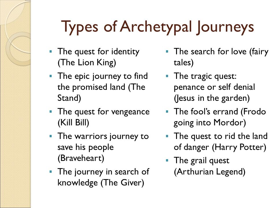 archetypal quest Archetypes: at their most basic level announces the need for a quest forces the hero to act princess leia's message gandalf and the one ring the tornado ally or allies accompanies and aids the hero.