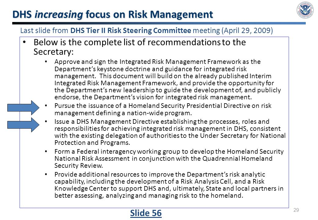 understanding the role of risk management in the plan draft of homeland security The plan is drafted in accordance with section 1558 of the 9/11 act, and with the  annex to the memorandum of understanding executed on august 9, 2006,  between the  measures to reduce risk and minimize the consequences of  emergencies  43 use of homeland security advisory threat assessment  system for the.