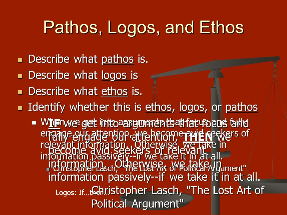 speech analysis with pathos logos Get in-depth analysis of checkers speech checkers speech: rhetoric pathos okay, okay logos and ethos ultimately play second and third fiddle to the.