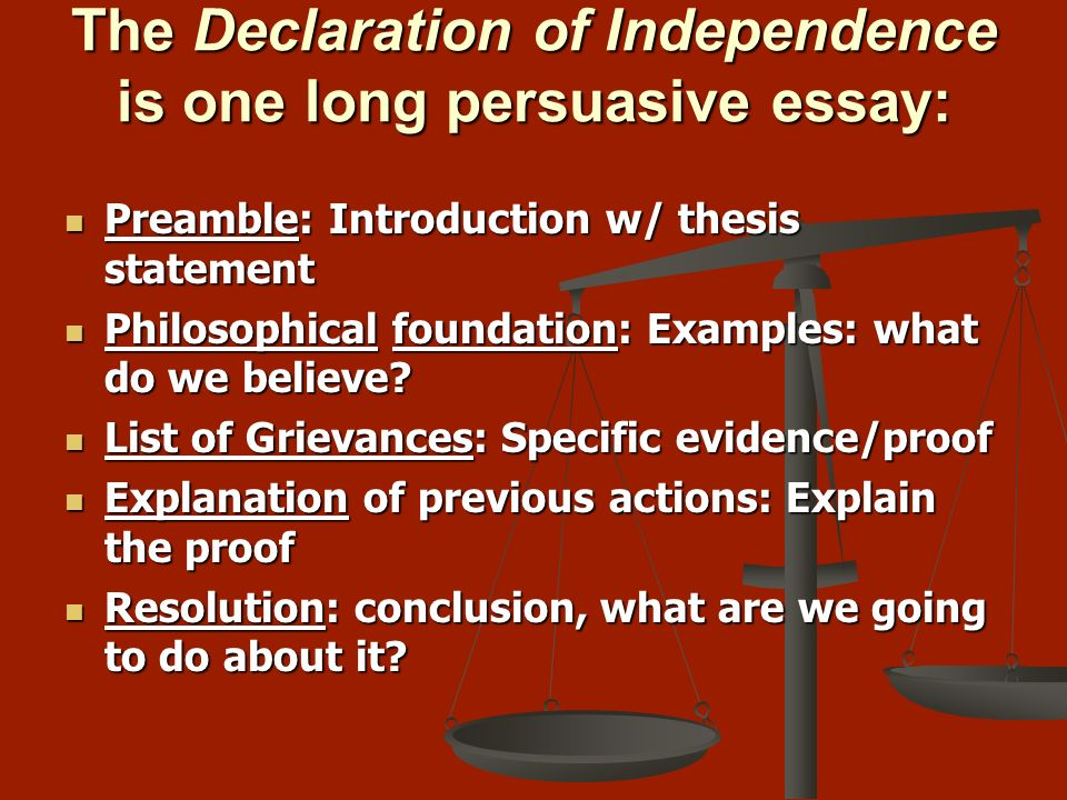 the declaration of independence essay conclusion In conclusion we, the children and teens, have stated show more related documents: my declaration essay example declaration of becca's independence essay declaration of becca's independence i declare as of today that my own independence must occur whether it's me doing my own schoolwork, cooking, or.